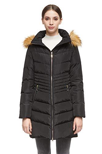 Orolay Chaqueta de Plumas de Invierno para Mujer Abrigo Parka con Capucha Medio Largo Negro Small