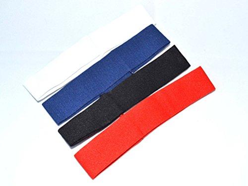Pack 4 Bandeau cheveux 3 cm blanc noir rouge et bleu marine. Expédition gratuite