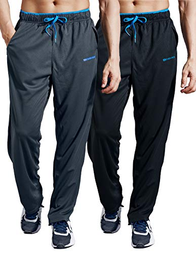 ZENGVEE Men's Sweatpants with Zipper Pockets 2 Pack Athletic Workout Pants for Sports,Gym,Running,Exercise(0316Gray Blue+Black Blue-XL)