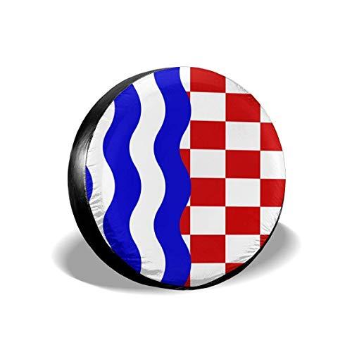 GOSMAO Cubierta de neumático Ajustable con protección Solar Impermeable con Bandera croata, Adecuada para automóvil, SUV, RV, Remolque, Cubierta de Rueda de neumático de 16 Pulgadas