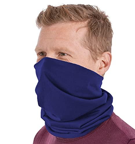 Tough Headband Neck Gaiter Face Mask & Sleeve w/ UV & Dust Protection, Navy Blue