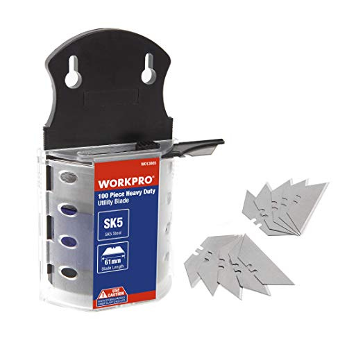 WORKPRO Utility Knife Blades, SK5 Steel, 100-pack with Dispenser
