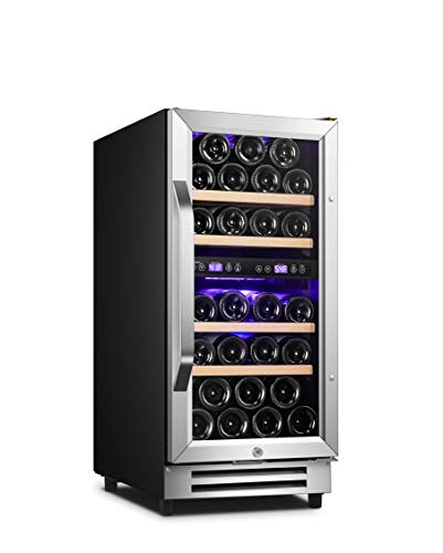 Karcassin 15 inch Wine Cooler – 28 Bottle Dual Zone Wine Refrigerator – Built-in or Freestanding Wine Fridge with Door Lock for Red and White Wine