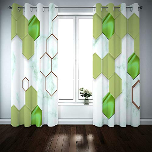 Kihomedy 3D Printing Curtains, Hexagon Honeycomb Green White Window Treatment for Living Room Nursery Kidsroom 84X63 Inch 2 Panels