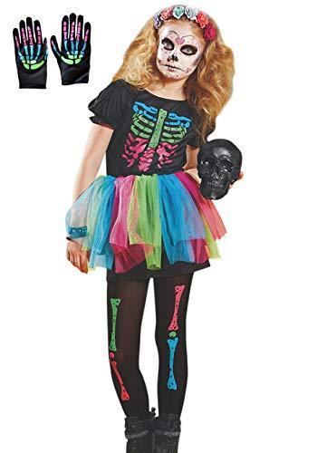 Lecoyeee Disfraz de Esqueleto Disfraz Día de los Muertos para Niñas 3 Piezas Falda Arco Iris+Guante+Leggings Disfraz Catrina Esqueleto Vestidos con Tutú Trajre Esqueleto Infantil Talla S-L