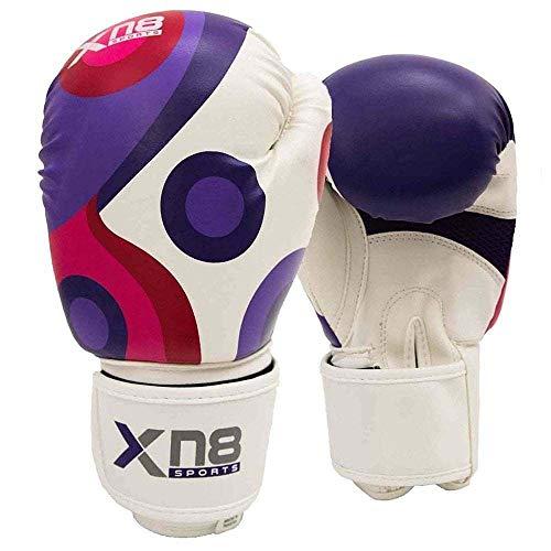 Xn8 Sports - Guanti da Boxe Unisex per Ragazzi, in Pelle, Colore: Viola, Taglia Unica