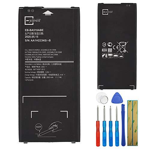 E-yiiviil - Batteria di ricambio EB-BA510ABE compatibile con Samsung Galaxy A5 A510 A5100 2016 Edition 2900 mAh con strumenti