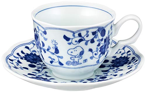 Kanesho Pottery Snoopy Peanuts Blue and White Tea Cup and Saucer Set 630737
