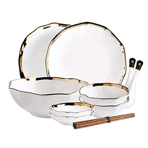 CCAN De vajilla fina, platos de cena de cerámica, 20 piezas Creativity Macaron Juego de combinación de porcelana Tazón de fuente |Vajilla de rayas verticales para el hogar para el descanso Interesting