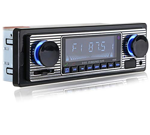 Vintage Classic Bluetooth Car Stereo, FM Radio Receiver, Hands-Free Calling, Built-in Microphone, USB/SD/AUX Port, Support MP3/WMA/WAV, Dual Knob Audio Car Multimedia Player, with Remote Control