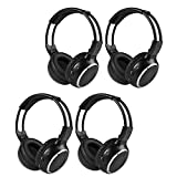 LeaningTech Wireless Infrared Two-Channel Foldable Headphones Universal Rear Entertainment System Headphones (Pack of 4)