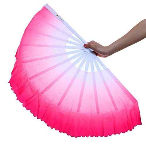 ZooBoo 1 Pair Plastic Taichi Kungfu Fan Dancing Fans Sports Folding Hand Fan 13 inch (Pink)