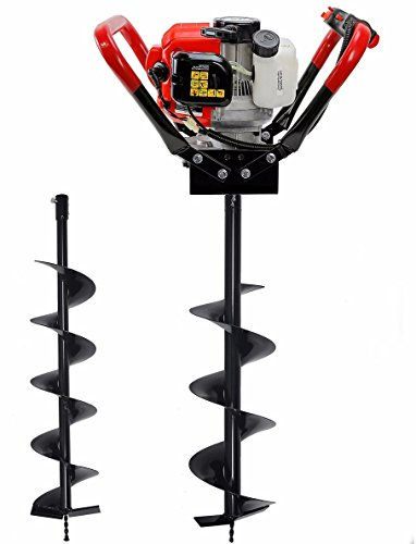 """XtremepowerUS V-Type Post Hole Digger Gas-Powered 55CC 2-Stroke EPA Powerhead Engine with Digging Bit 6"""" and 10"""" inch Auger Bit Kit"""