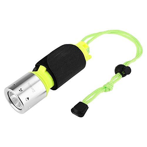 Linterna de mano, Luz de buceo portátil a prueba de agua 3 modos de engranaje Submarino brillante T6 Linterna de buceo Antorcha para Buceo Senderismo(no incluye batería)