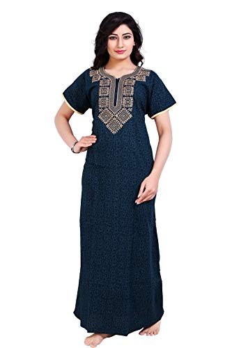 BAILEY SELLS Women's Cotton Embroidered Maxi Nightgown (BAILEY1444_Blue_Free Size)