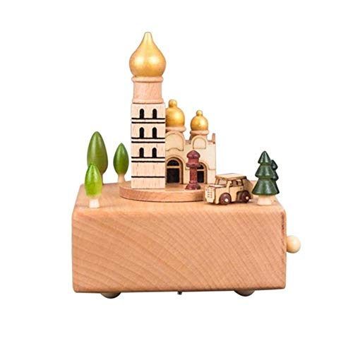 AOJIAOGUI Wooden Music Box Birthday Gift Small Mobile Music Boxes Figurines Wooden Music Box Toy Decoration for Birthday Gift,D