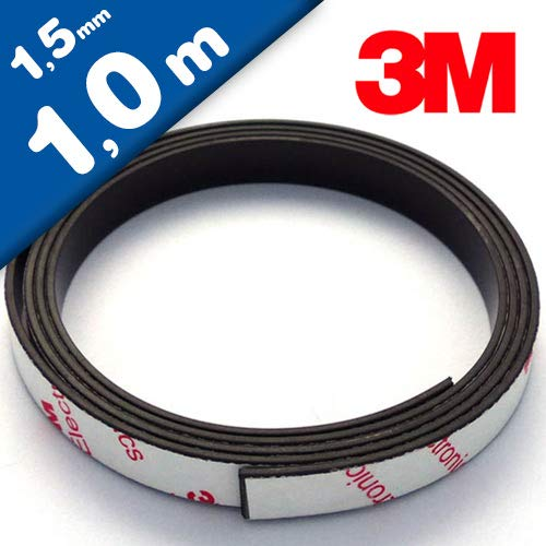 Neodym Magnetband Magnetstreifen selbstklebend mit 3M-Kleber - 1,5mm x 10mm x 1m - Magnetklebeband mit sehr starke Haftkraft - diese Power-Neodymband besitzt eine Haftkraft von 430 g/cm²