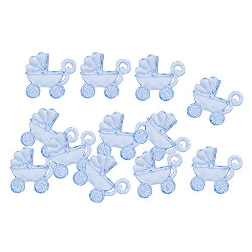 freneci Transparent Acrylic Bear & Baby Stroller Charms DIY Craft Embellishments - Pram Blue, 2.8X2.5cm