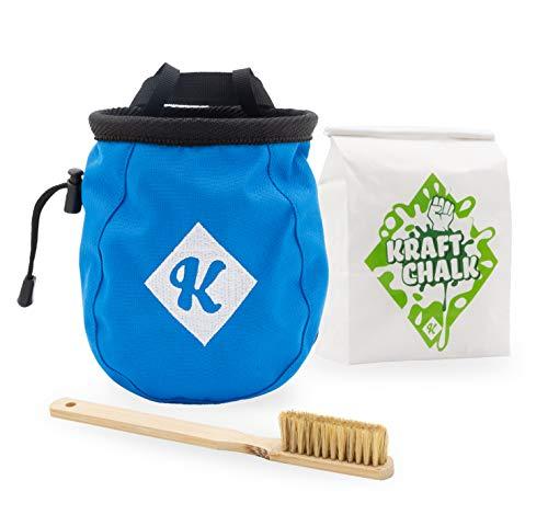 Café Kraft Chalkbag Bundle Magnesiumbeutel Set mit Hüftgurt Chalk und Bürste aus Bambus zum Bouldern und Klettern Griffe putzen