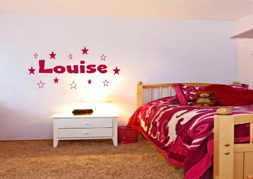 Adhesivo decorativo para pared con nombre y estrellas, 200 mm x 600 mm, cualquier color con cualquier nombre