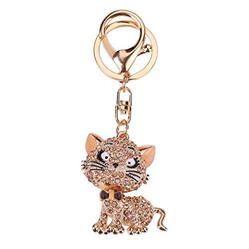 JIE Llavero con Forma de Gato de Diamantes de imitación de Lujo, Bolso de Mujer, Llavero, Colgante para Llave de Coche, champán