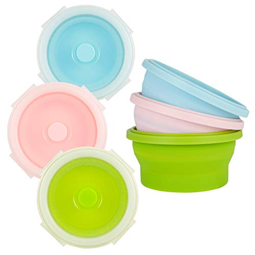 Fuyamp Round Collapsible Food Storage Container, 3 Pcs Foldable Bento Boxes with Lids, Portable Safety Silicone Lunch Boxes for Adults and Children