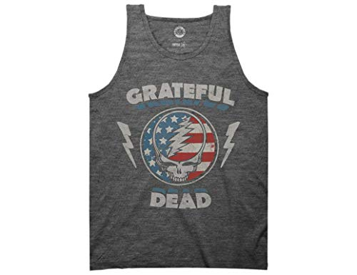 Ripple Junction Grateful Dead Adult Unisex Steal Your Face Stars and Stripe Heavy Weight Muscle Tank Top MD Heather Graphite