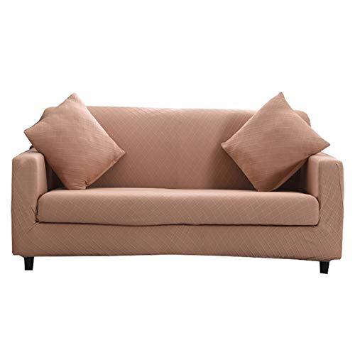 CENPENYA Funda de sofá elástica, Fundas de Tela Jacquard de Licra, Fundas para sofá, Protector de Muebles para sofá, Tela Duradera de Licra para Cuadros (Beige,231cm-300cm)