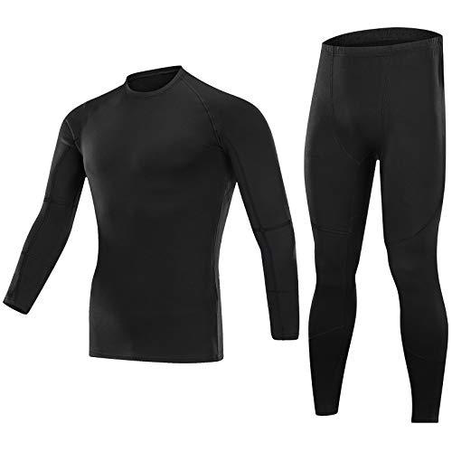 SKYSPER Ropa Interior Térmica Hombre Conjuntos Térmicos Camiseta Térmica Manga Larga Pantalones Largos de Compresión Hombre Deportes Termo Invierno Otoño para Running Esquí Montaña Ciclismo Fitness