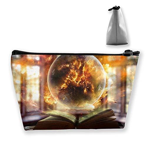 Bolsa de maquillaje cosmético libro de papel de la bola de luz portátil cosmética bolsa portátil de almacenamiento trapezoidal bolsa de viaje bolsas con cremallera