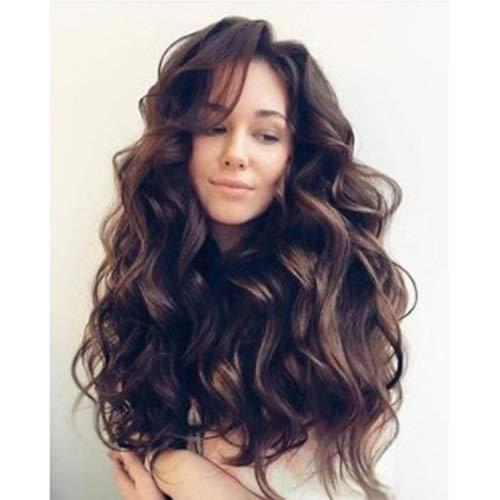Sexy Damen Voll Top-Perücke 26 Zoll lockiges Wavy Braunes Haar-natürliche Farbe geeignet for jede Gesichtsfarbe