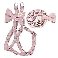 犬用ハーネス 犬のハーネスリーシュセット調節可能な柔らかい刺繍かわいい弓二重層犬ハーネス小さい中間ペット歩行 (Color : Pink, Size : S)