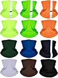 12 Pieces Balaclava Face Mask Headbands Colorful Headwear Scarf UV Protection Neck Gaiter with Reflective Tape for Women Men Outdoor Sports