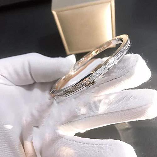 JIAMIN Ladies bracelet Jewelry women's bracelet wholesale jewelry boutique full diamond zircon open BRACELET WOMEN Ladies bracelet (Gem Color : Silver S)