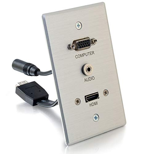 C2G Wall Pass Through For HDMI, VGA, & 3.5mm AUX Cables - Single Gang Wall Plate Includes Flexible HDMI & AUX Pigtail - Brushed Aluminum Design For Sturdy & Stylish Finish - Ideal For Conference Rooms, Model:60144