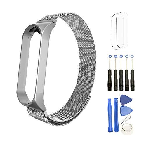 YHX-OU Milanese - Correa de acero inoxidable compatible con Xiaomi Mi Band 5, correa de metal, con hebilla magnética (plata)