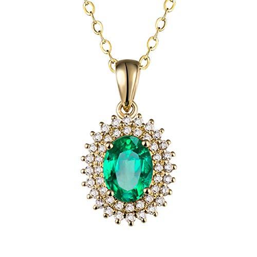 Beydodo Damen Halskette 18 Karat Gold, Blume 1.16ct Oval Smaragd Anhänger Charms Kette Frauen Gold mit Diamant 45CM