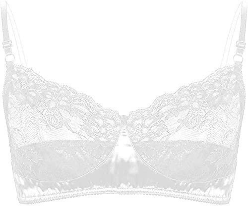 Conjuntos de lencería para Mujer Sujetador de satén de lencería para Hombre para Sujetador de Sexo exótico Encaje Floral Satén-Blanco_Medium
