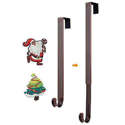 Wreath Hanger for Front Door, HangerSpace Over Door Wreath Hook Wreath Holder Adjustable Length 15 inch - 24 inch with 2 Magnets Christmas Decoration - Bronze