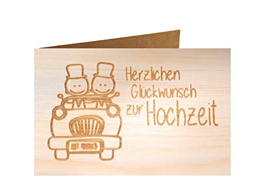 Holzgrußkarte - HERZLICHEN GLÜCKWUNSCH ZUR HOCHZEIT - 100% handmade in Österreich - Postkarte Glückwunschkarte Geschenkkarte Grußkarte Klappkarte Karte Einladung mr gleichgeschlechtlich
