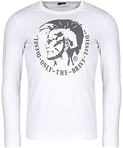 Mens Diesel T-Diego-Long B-R T-Shirt in White.