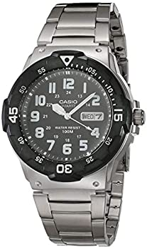Casio Men s Diver Style Quartz Watch with Stainless Steel Strap Silver 23.8  Model  MRW-200HD-1BVCF