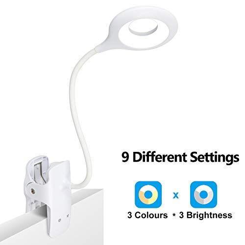 LVJING 28 LED Reading Light 9 Different Settings Eye Protect Book Light USB Rechargeable Reading Lamp Touch Control Clip Desk Lamp Flexible 360° Clip Light for Home Book Bed and Computer