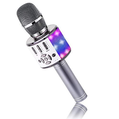 Karaoke Mikrofon mit Echo Effekt, BONAOK Mikro Kinder Karaoke, Home KTV Sing Microphone mit LED Lichtern, Alternative zur Karaoke Maschine, Kompatibel mit IOS Android Bluetooth Geräten (Weltraum grau)