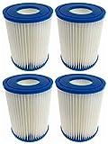 Paquete de 4 cartuchos de filtro para Bestway tamaño II, repuesto para filtro de piscina, fácil instalación, cartucho de filtro antimicrobiano para jacuzzi, piscina, spa