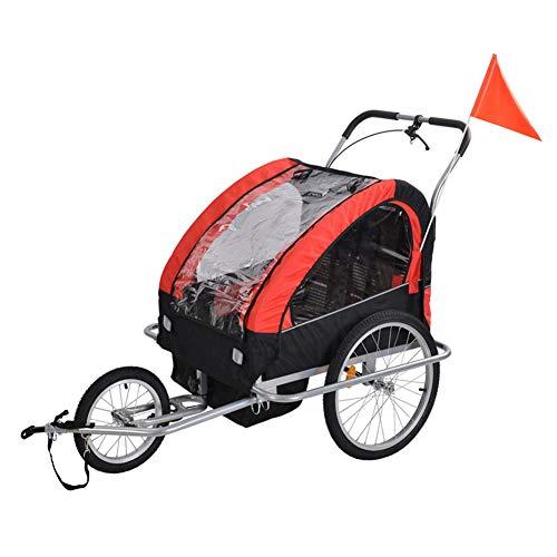 Child Bike Trailer, 2-in-1 Double Baby Bike Trailer Jogger Stroller, Foldable Bike Wagon Trailer, with Handle Bar and Wheels