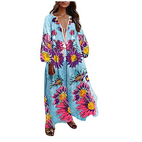 BOOMJIU Vestido Mujer Bohemio Largo Verano Playa Fiesta Floral Manga Larga Cuello en V hasta el Tobillo Vestidos