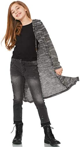 Truly Me Big Girl s Long Sleeve Fashion Sweater Knit Cardigan with Hood Size 7 16 Heather Grey product image