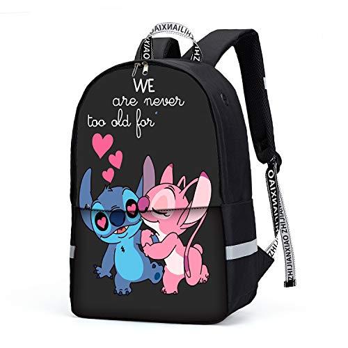 Stitch Angel Muster Rucksack Herren Schulrucksack, Laptop-Rucksack für Jungen Mädchen Für 14-Zoll-Laptop 15.6-Zoll Unisex Leichte 21L College-Rucksack Daypack (06)