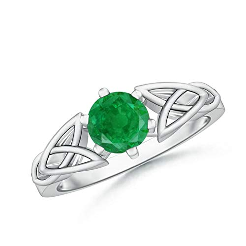 Solitaire Round Emerald Celtic Knot Ring in 14K White Gold (6mm Emerald)
